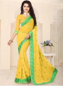 Exceptional Yellow Designer Saree