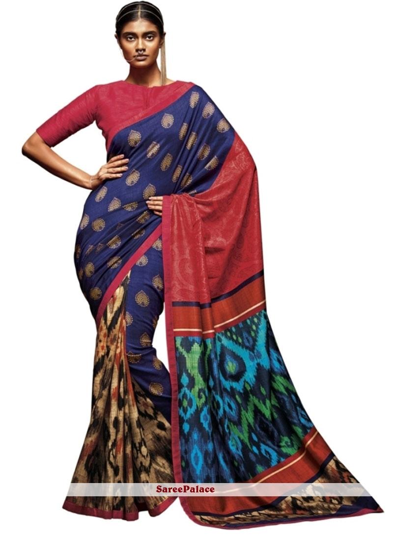 Exciting Art Silk Print Work Printed Saree