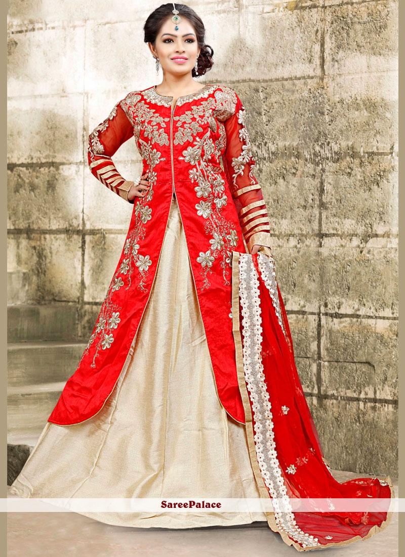Exciting Bhagalpuri Silk White and Red Long Choli Lehenga