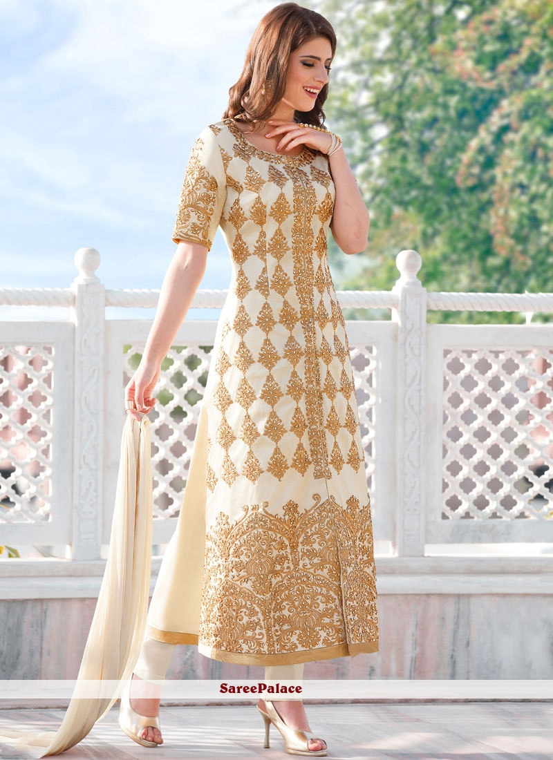 Exciting Fancy Fabric Designer Straight Suit