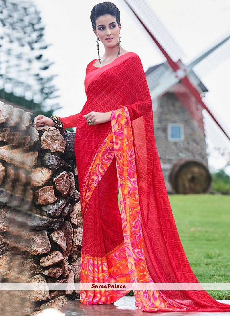 Exciting Georgette Red Printed Saree