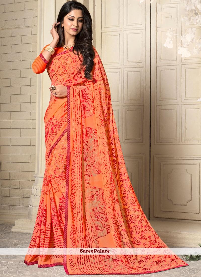 Exciting Orange Casual Saree