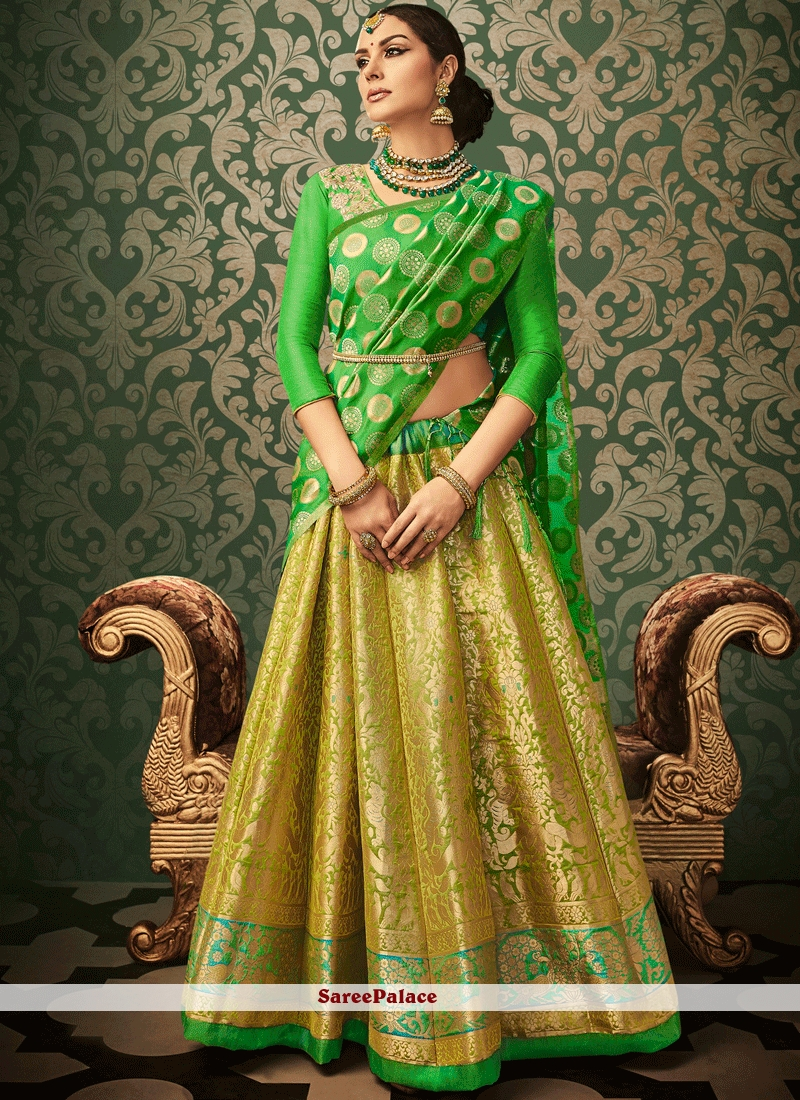 75d97928122 Buy Exciting Resham Work Banarasi Silk Lehenga Choli Online