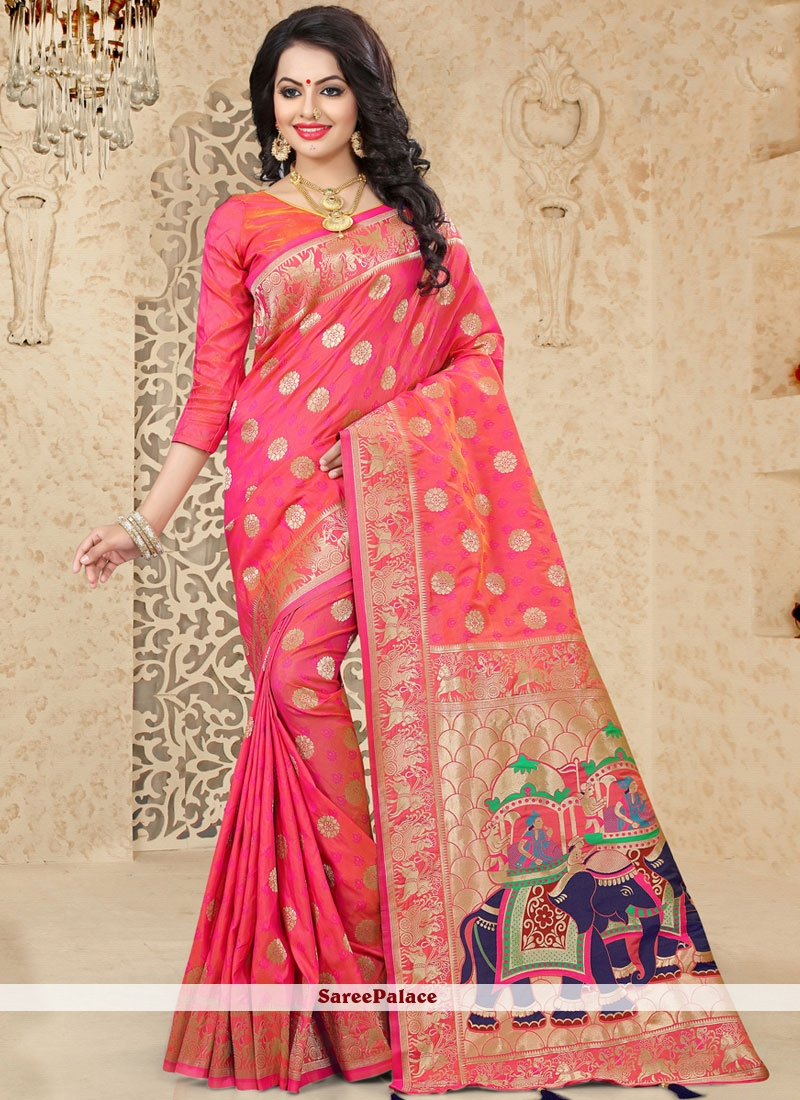 164ddc1d39 Buy Exciting Uppada Silk Hot Pink Traditional Saree Online