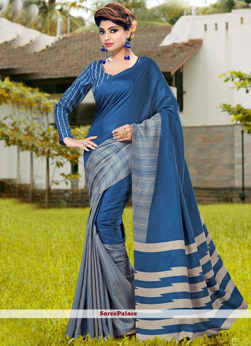 Exotic Print Work Blue Printed Saree