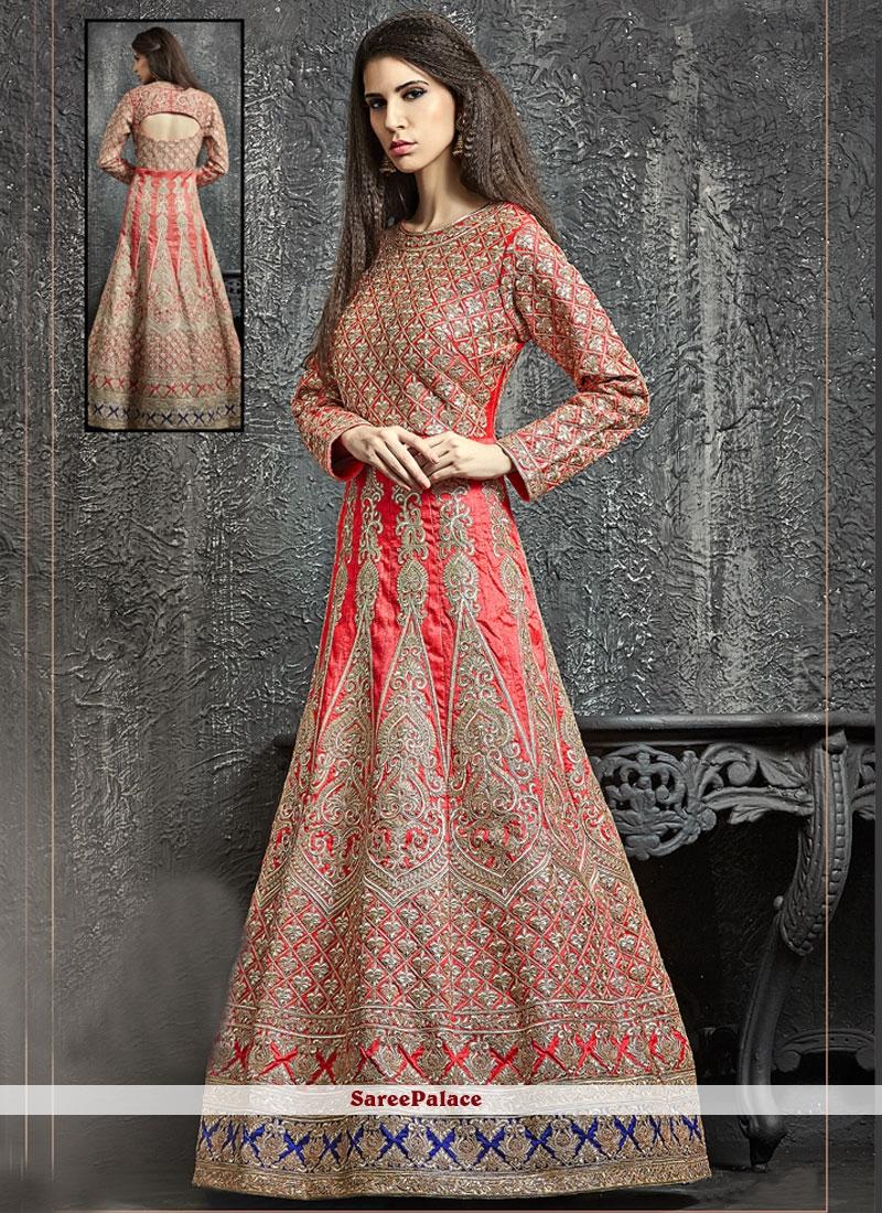 Exquisite Cutdana Work Dupion Silk Red Designer Floor Length Suit
