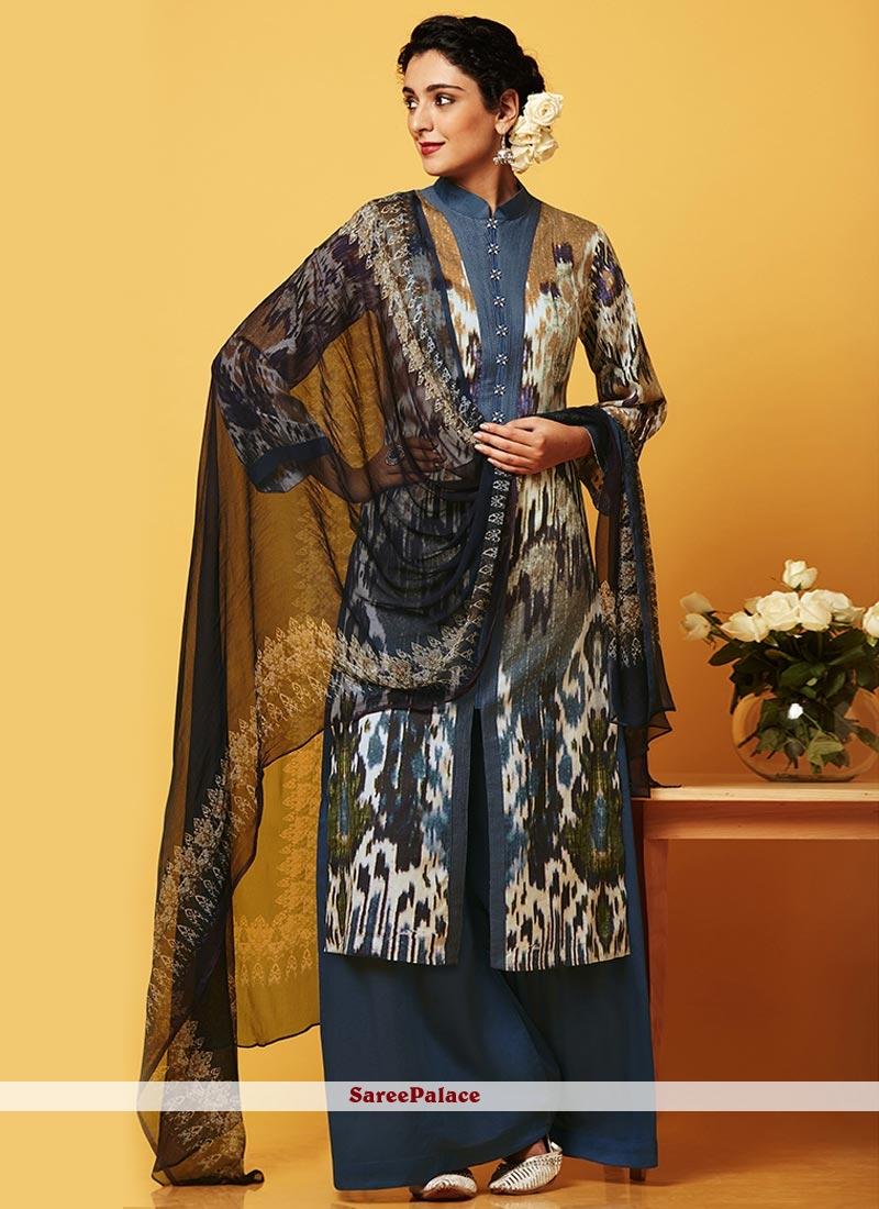 Exquisite Faux Chiffon Navy Blue Designer Palazzo Suit