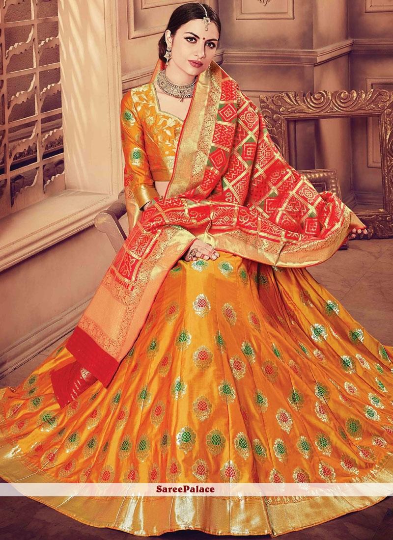 9bb88e4ce6 Buy Exquisite Orange and Red Resham Work Banarasi Silk Designer Lehenga  Choli Online