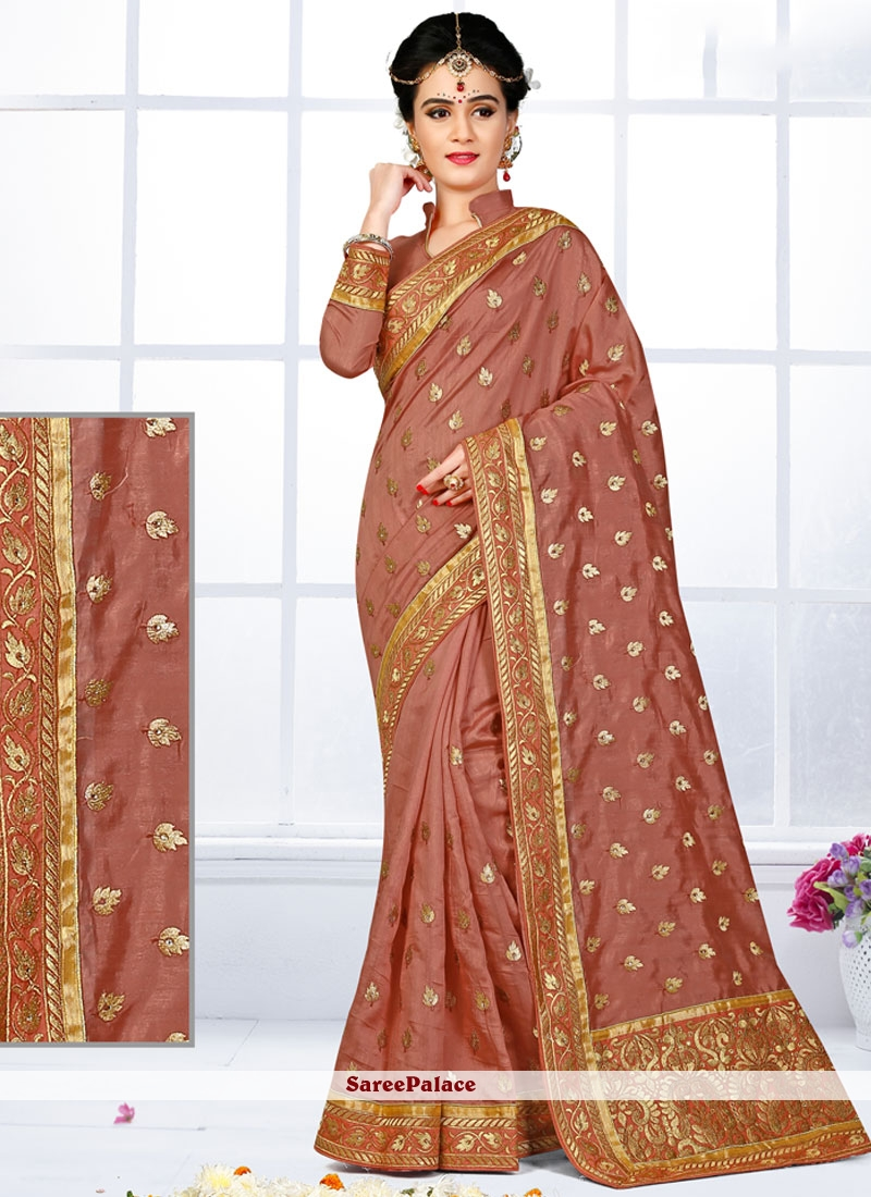Exquisite Patch Border Work Traditional  Saree