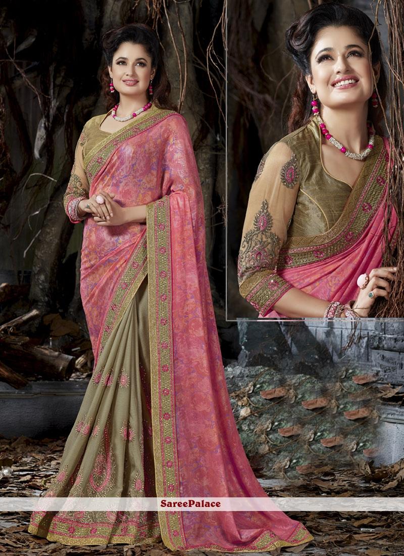 Extraordinary Beige and Pink Zari Work Fancy Fabric Designer Half N Half Saree