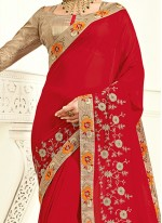 Extraordinary Embroidered Work Red Saree