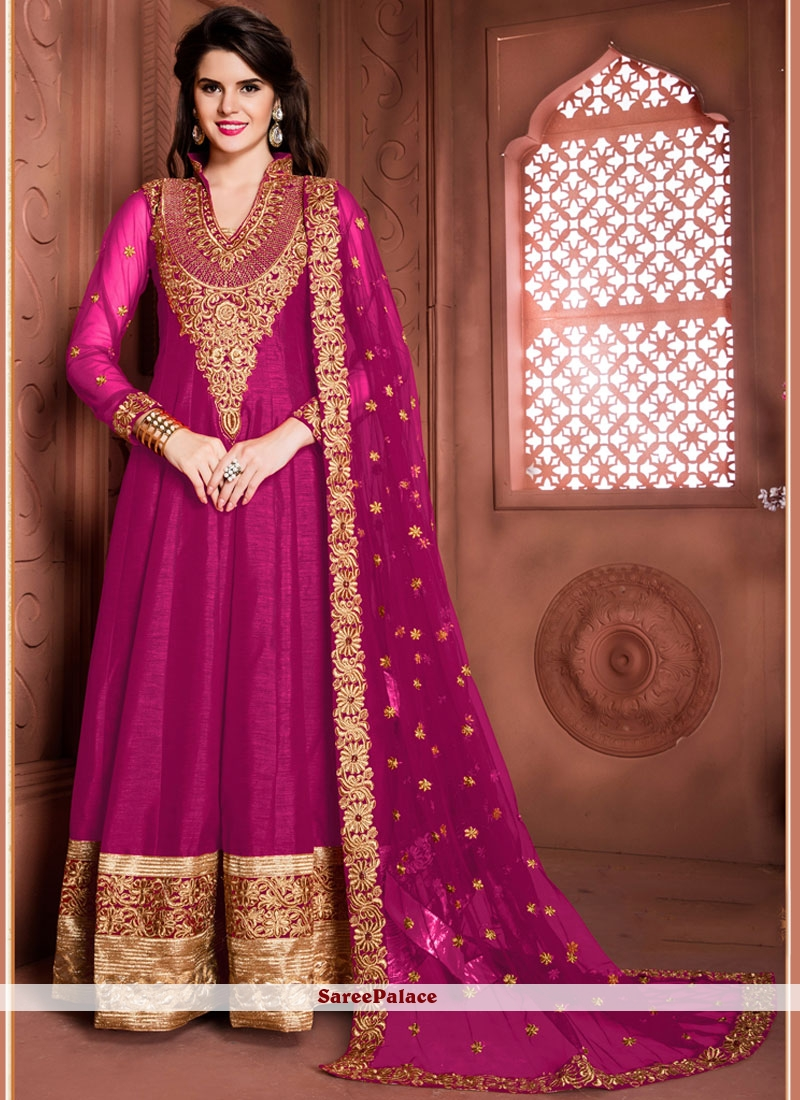 Extraordinary Patch Border Work Banglori Silk Magenta Designer Floor Length Suit