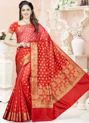 Extraordinary Raw Silk Weaving Work Traditional Designer Saree