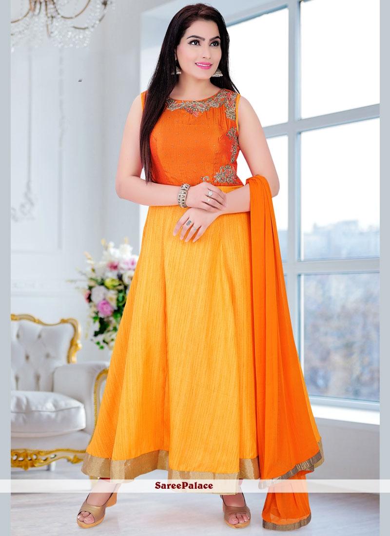 Extraordinary Stone Work Orange and Yellow Dupion Silk Readymade Anarkali Salwar Suit