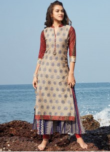 Exuberant Beige and Brown woven Work Party Wear Kurti