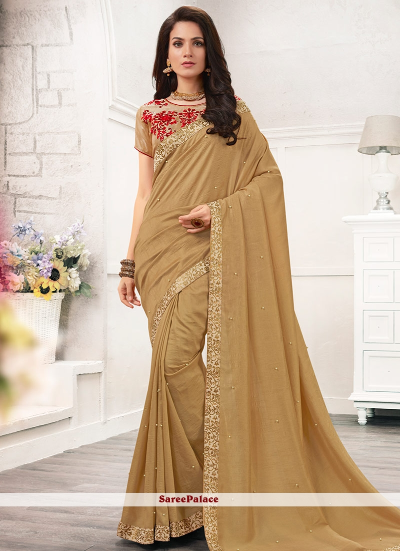 Exuberant Faux Chiffon Beige Embroidered Work Casual Saree