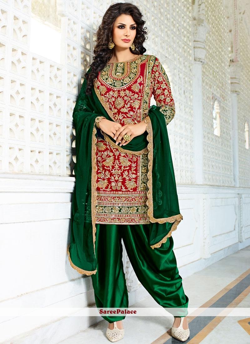 Exuberant Green and Red Designer Patiala Salwar Kameez