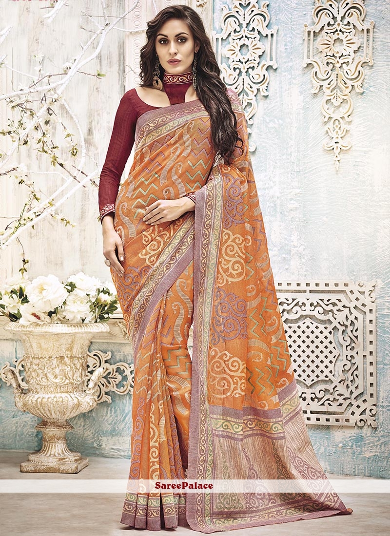 Exuberant Orange Art Silk Printed Saree