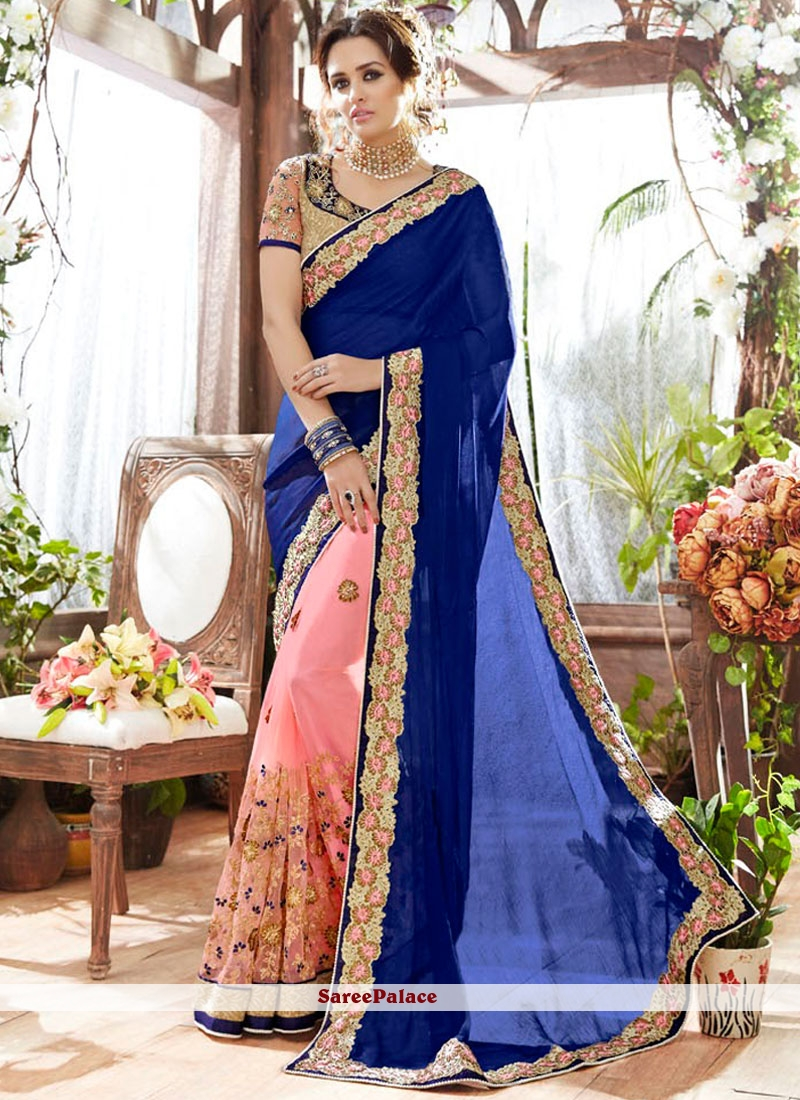 Navy Blue And Candy Pink Art Silk Half N Half saree