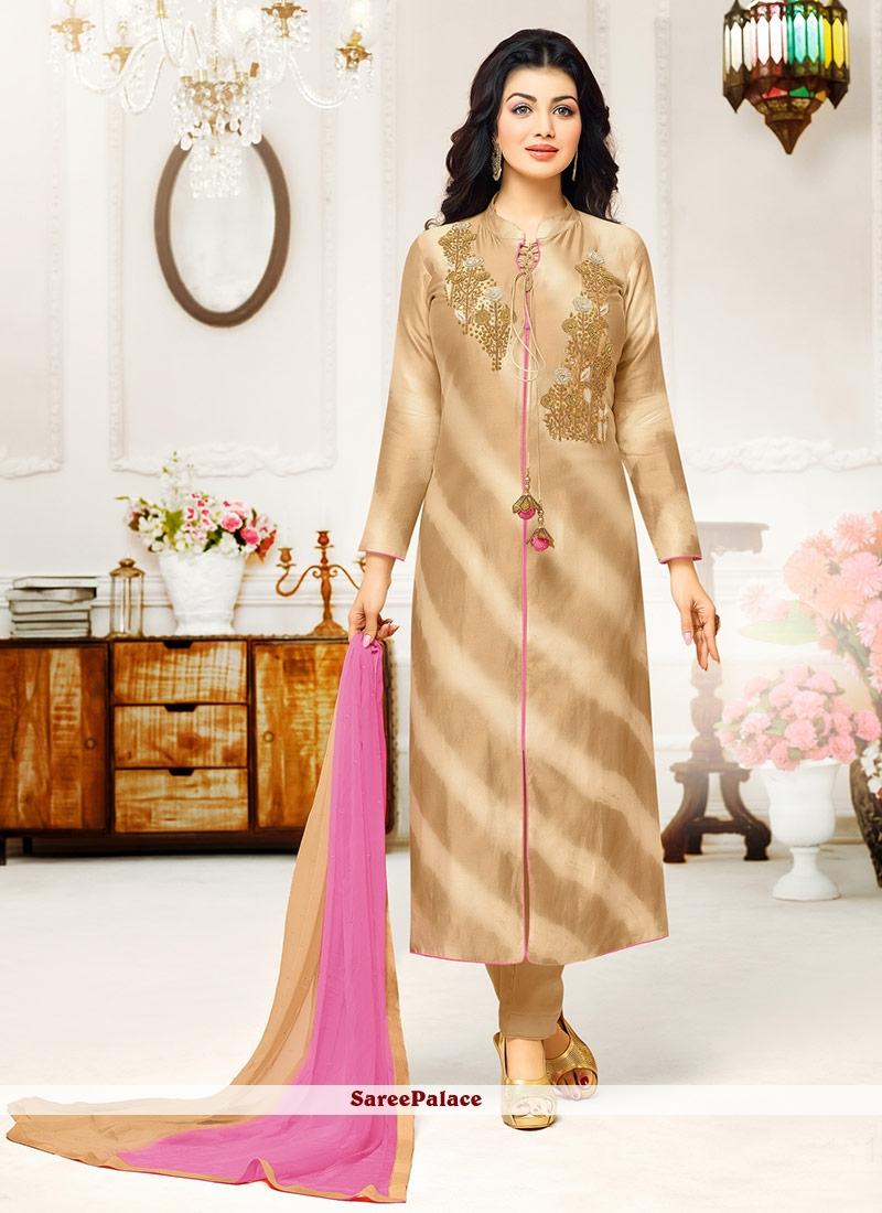 61047a19a55 Eye-Catchy Beige and Pink Designer Work Pure Chiffon Salwar Kameez