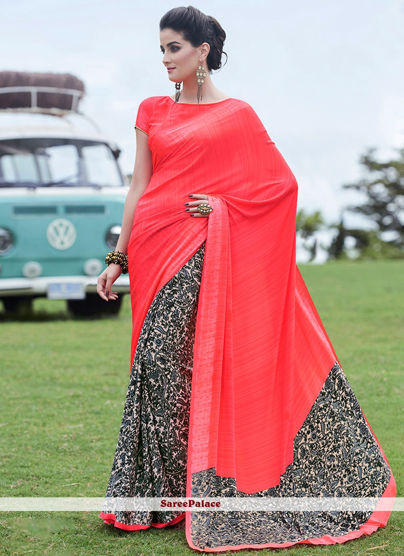Eye-Catchy Crepe Jacquard Printed Saree