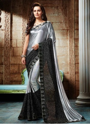 Eye-Catchy Lycra Patch Border Work Shaded Saree
