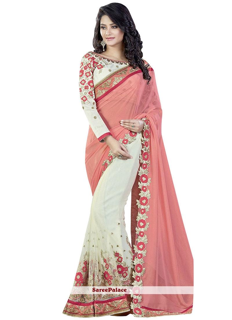 Eye-Catchy Pink and White Faux Georgette Designer Half N Half Saree