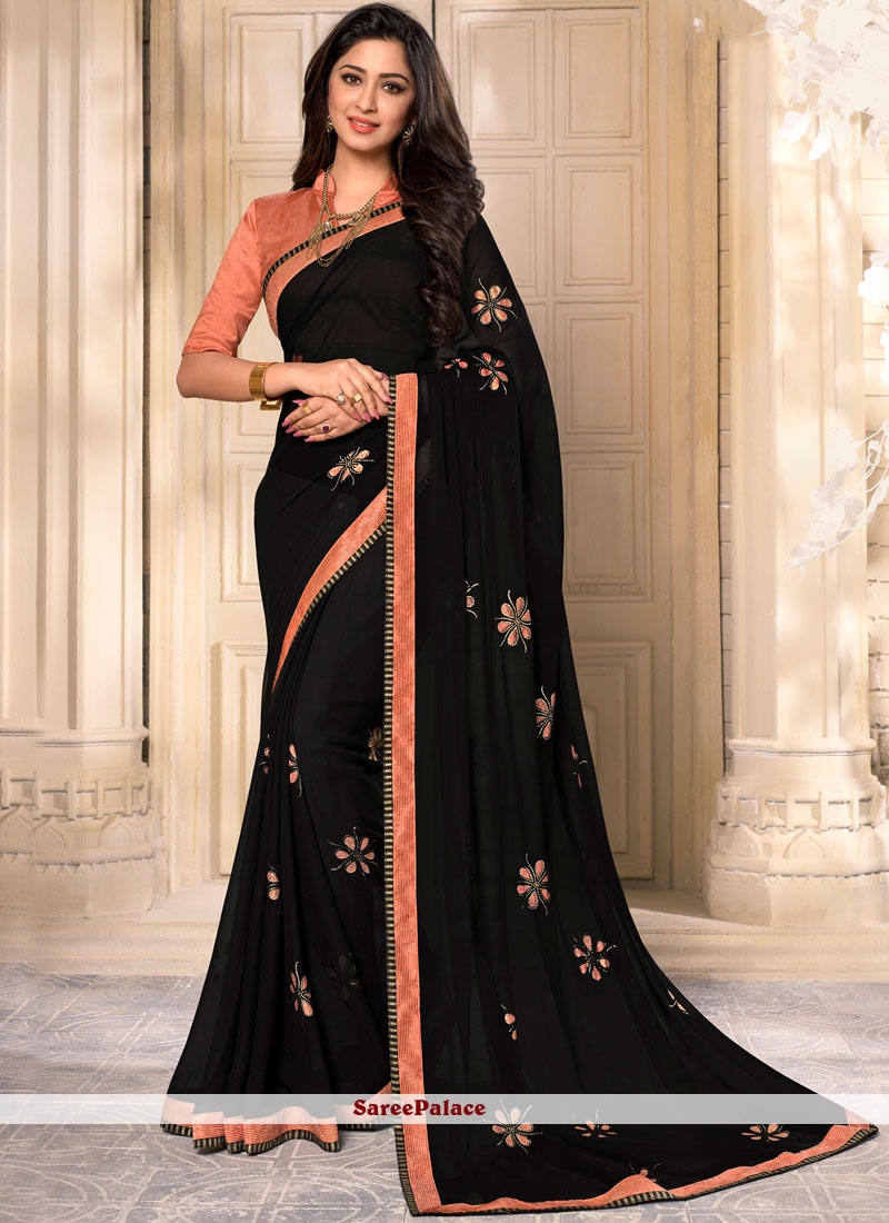 Eye-Catchy Printed Work Work Black Georgette Casual Saree