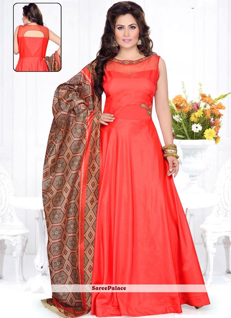 62dd7574b8 Buy Eye-Catchy Raw Silk Plain Work Anarkali Suit Online