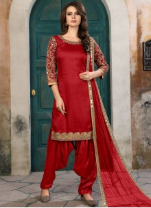 Eye-Catchy Red Zari Work Art Silk Salwar Kameez