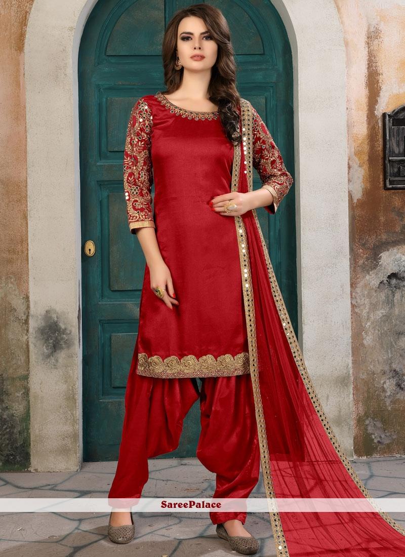 Eye-Catchy Red Zari Work Art Silk Salwar Kameez