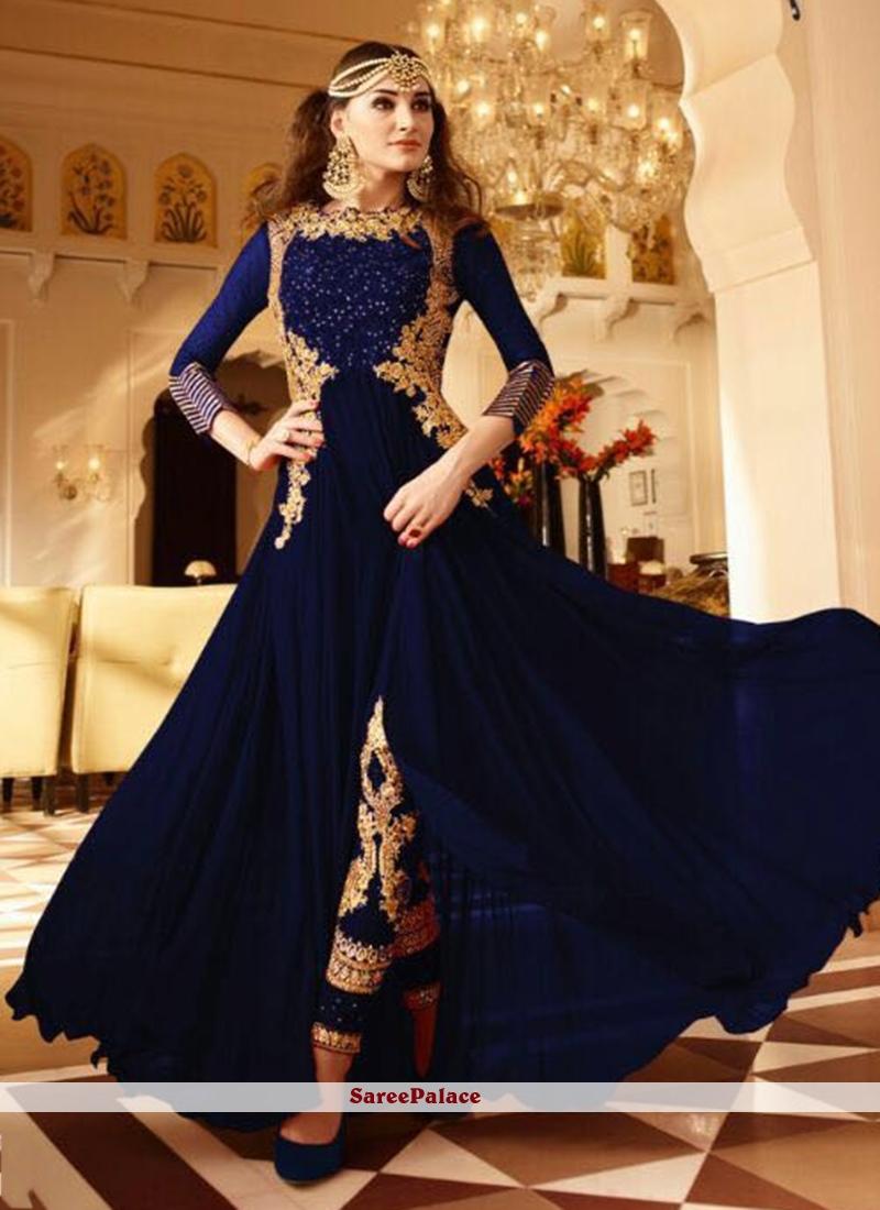 Eye-Catchy Resham Work Faux Georgette Blue Designer Floor Length Suit