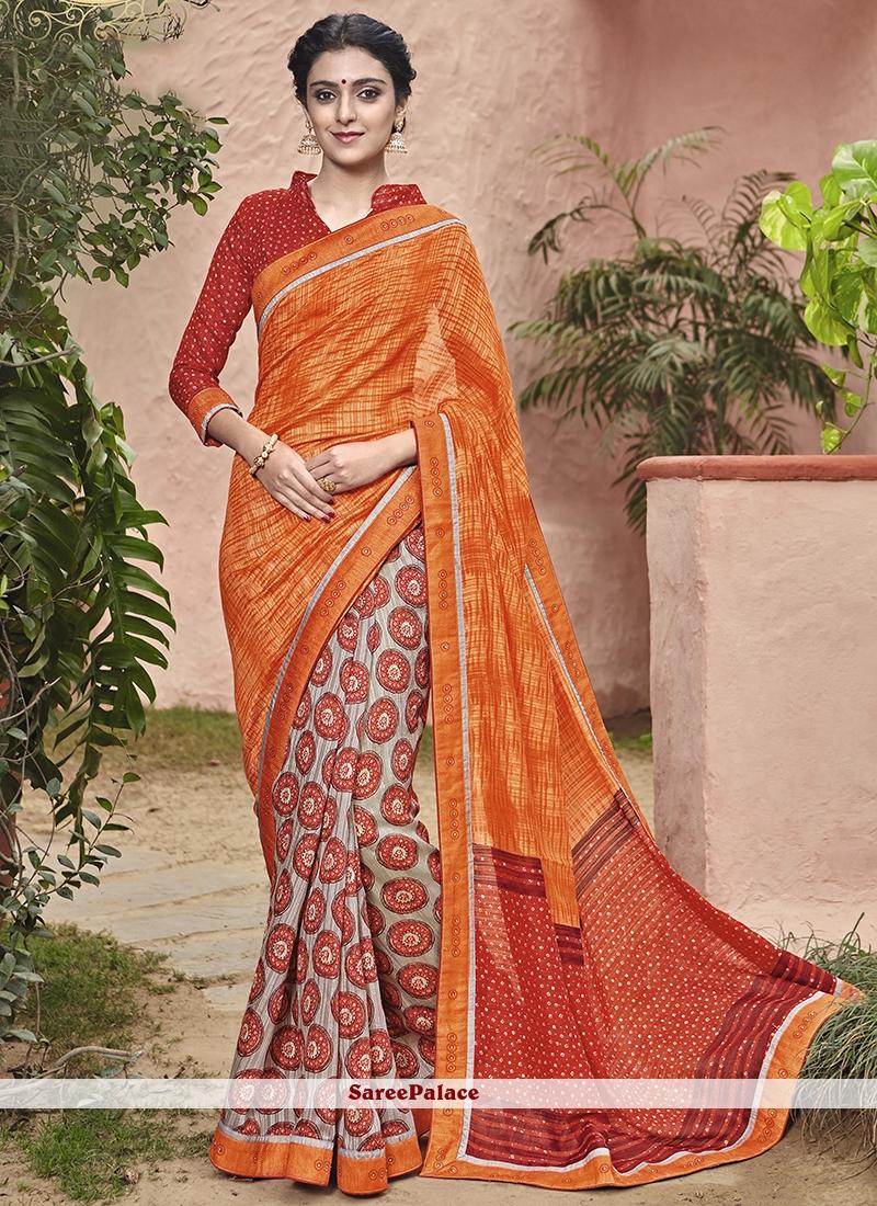 Fab Print Work Handloom silk Printed Saree