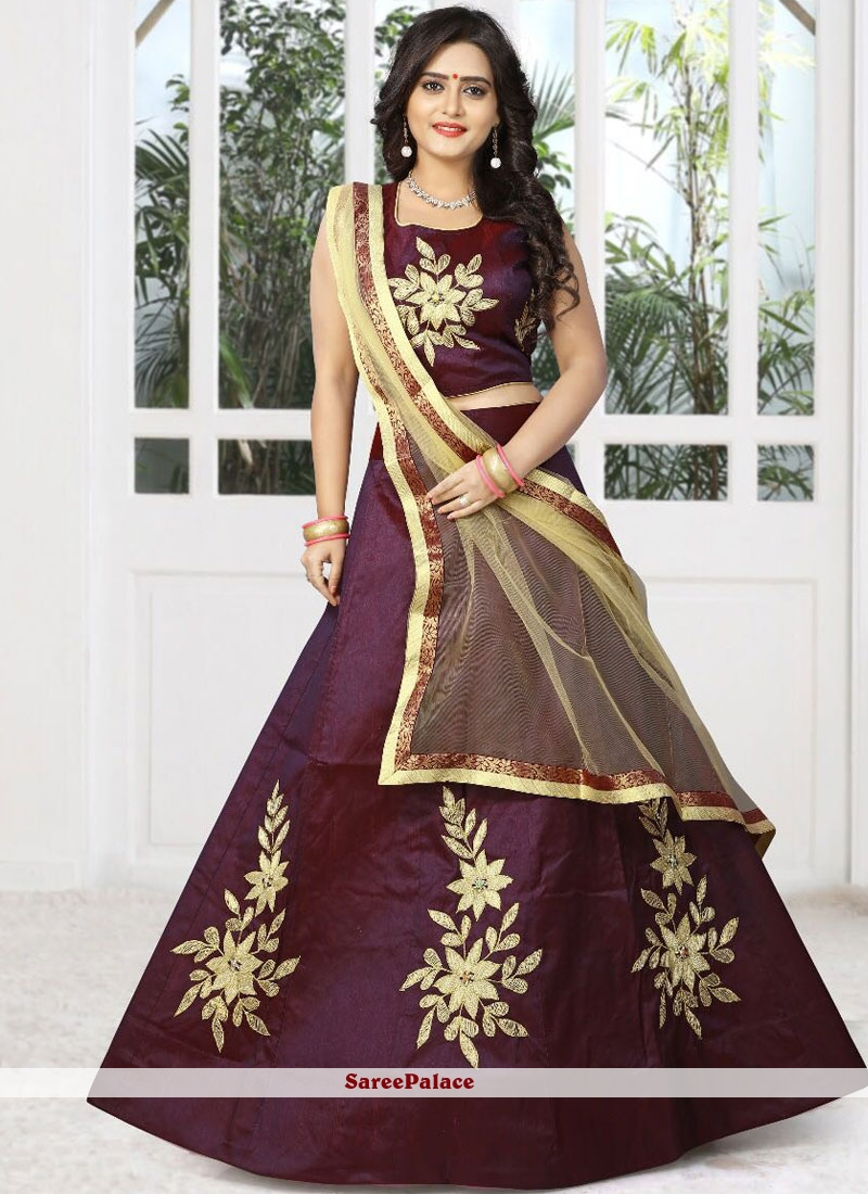 b4a9fed52f Buy Fab Purple Embroidered Work Malbari Silk Designer Lehenga Choli Online