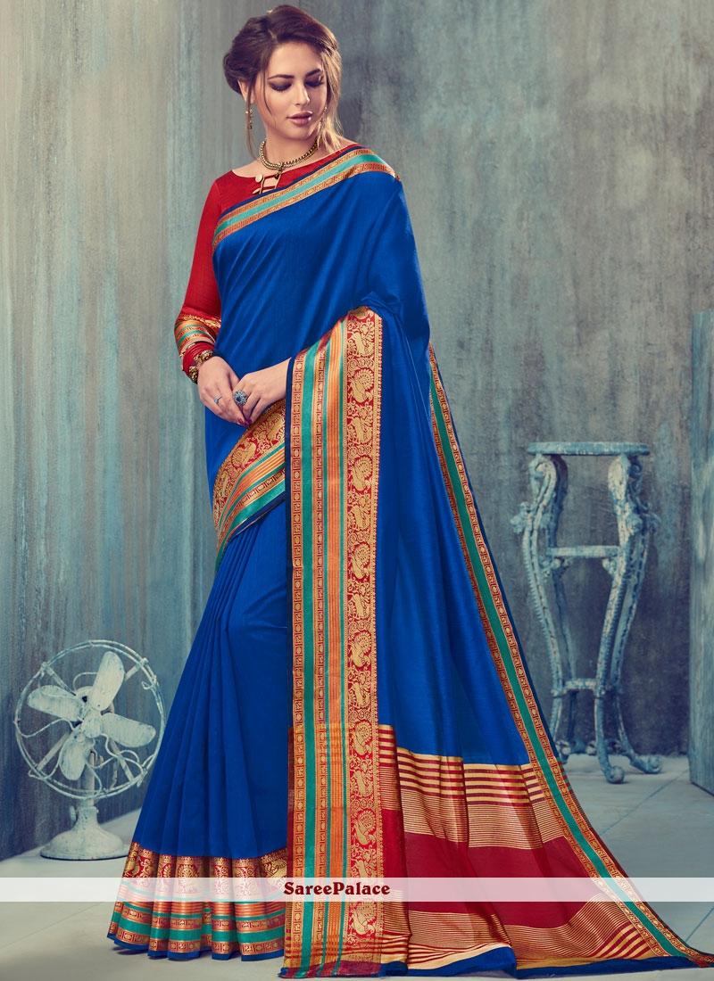 Fabulous Art Silk Blue Traditional  Saree