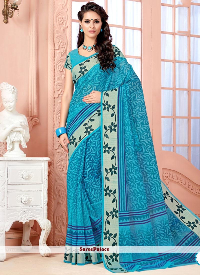 Fabulous Cotton   Blue Casual Saree
