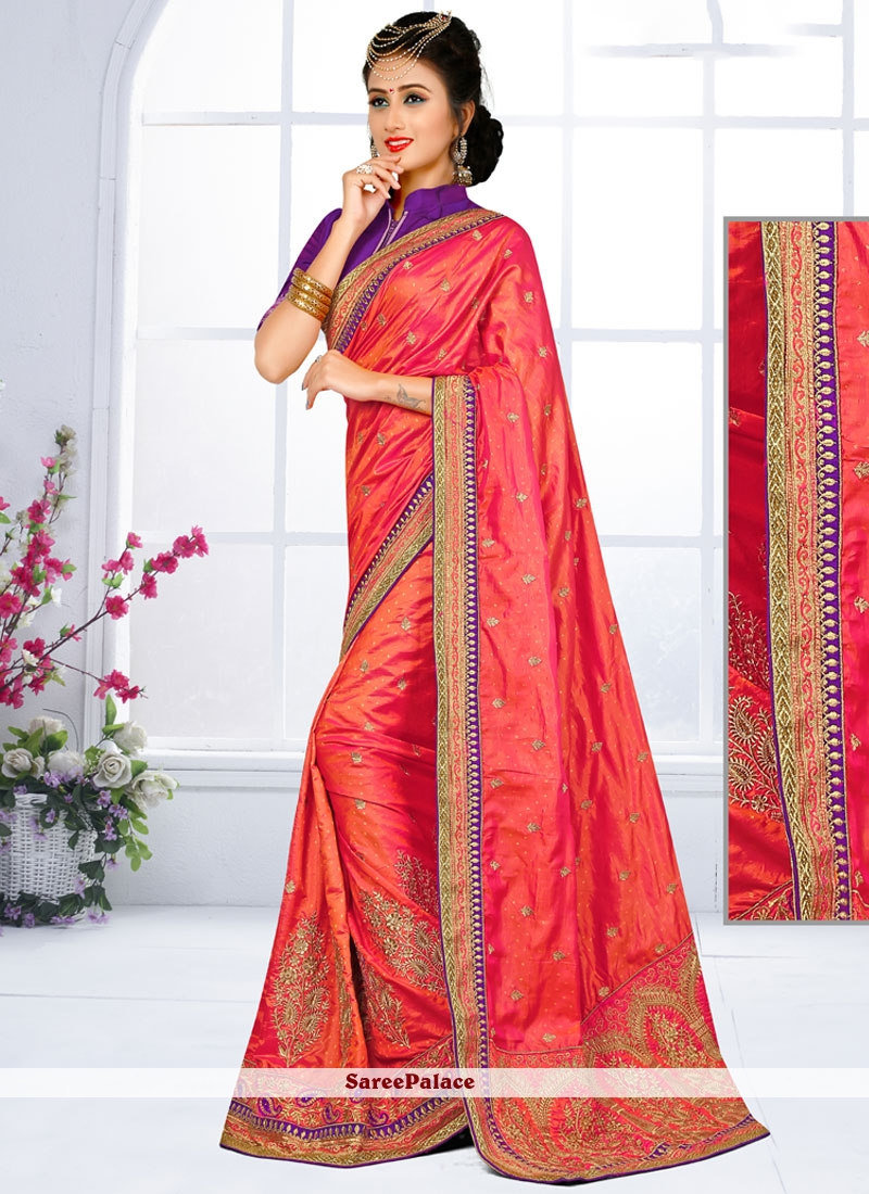 Fabulous Embroidered Work Traditional  Saree