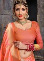 Fabulous Peach Weaving Work Designer Traditional Saree