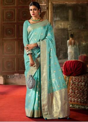 Fancy Aqua Blue Traditional Saree