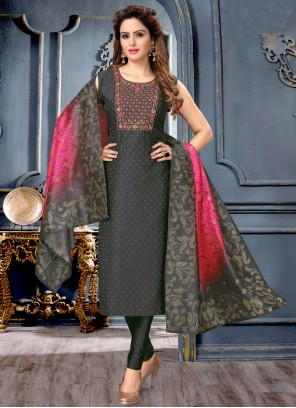 Fancy Art Silk Black Designer Suit