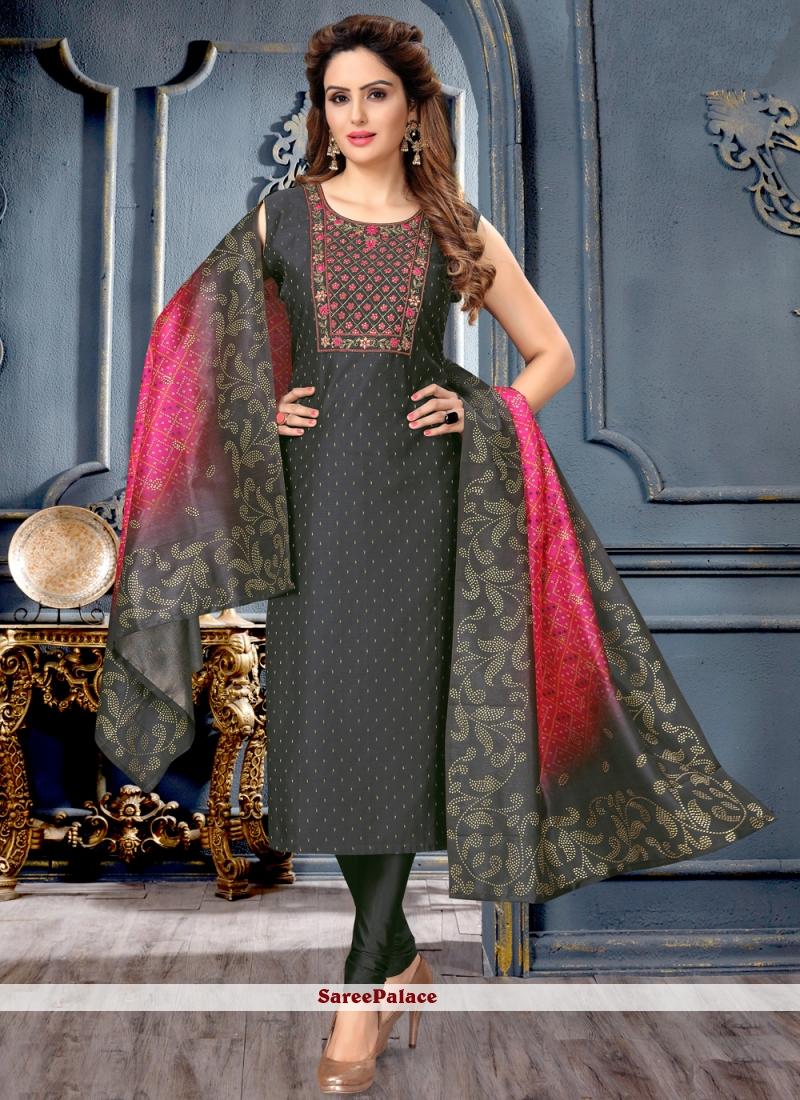 Fancy Art Silk Black Designer Suit