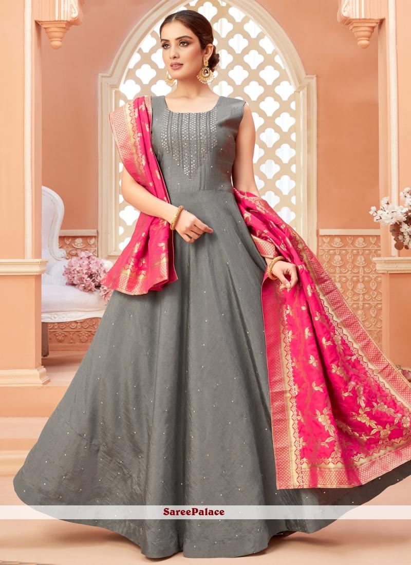 Fancy Art Silk Floor Length Anarkali Salwar Suit in Grey