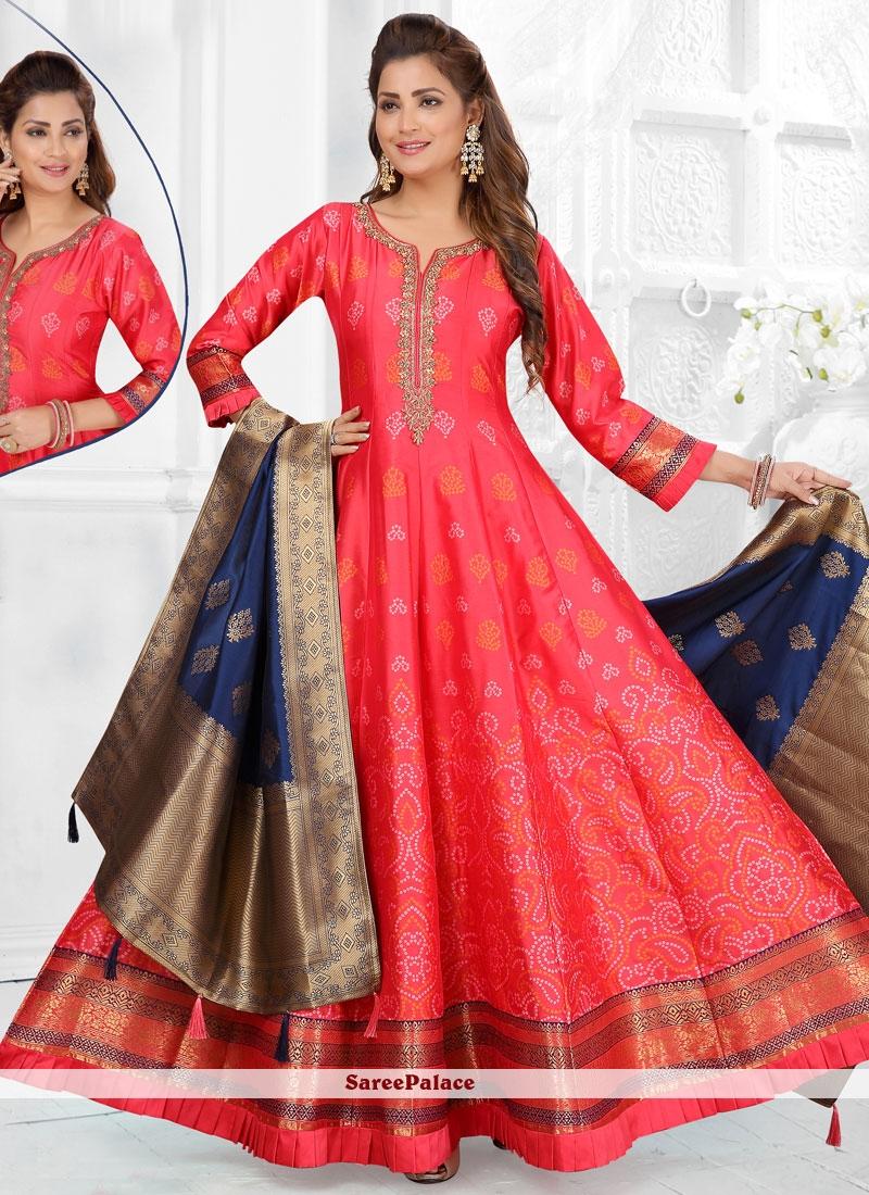 Fancy Art Silk Readymade Suit in Rose Pink