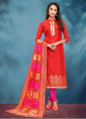 Fancy Banarasi Silk Churidar Red Salwar Kameez