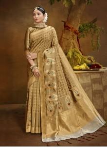 Beige Fancy Banarasi Silk Designer Traditional Saree