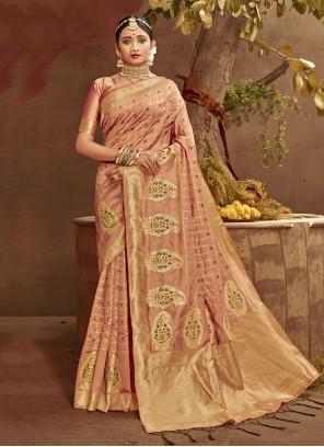 Fancy Banarasi Silk Peach Traditional Designer Saree