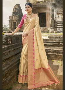 Fancy Banarasi Silk Traditional Designer Saree in Cream