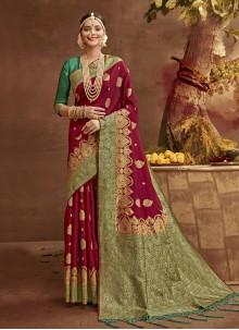 Fancy Banarasi Silk Traditional Designer Saree in Magenta