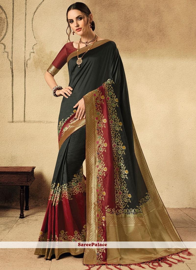 Fancy Black Jacquard Silk Designer Saree