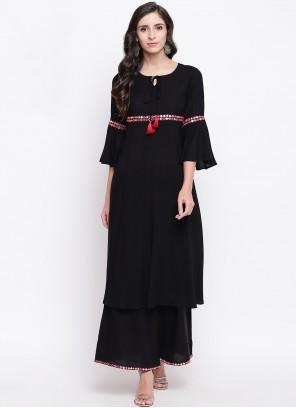 Fancy Black Rayon Party Wear Kurti